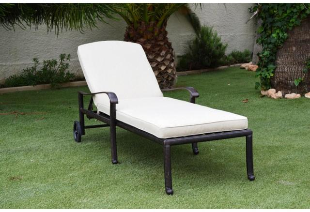 Almeria Cast Aluminium Sunlounger With Wheels