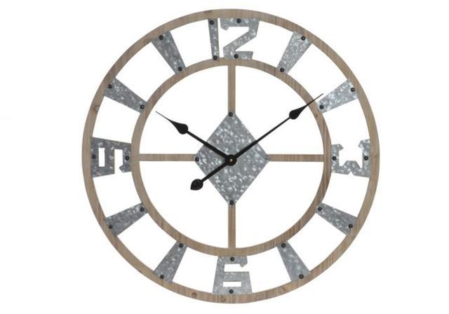 WALL CLOCK WOOD METAL
