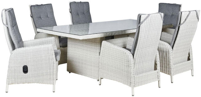 Malaga  6 Seater Reclining Oblong Dining Set