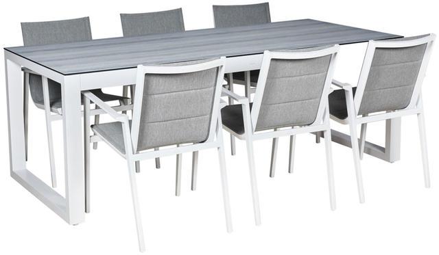 Cadiz Aluminium White Oblong 6 Seater Dining Set