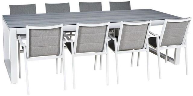 Cadiz Aluminium White Oblong 8 Seater Dining Set