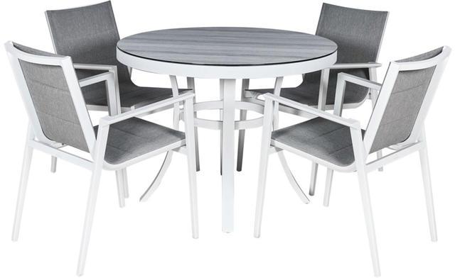 Cadiz Aluminium White Round 4 Seater Dining Set